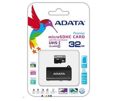ADATA Micro SDHC karta 32GB UHS-I Class 10 + OTG čtečka USB 2.0