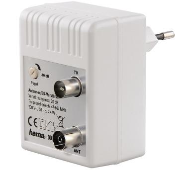 HAMA zásuvkový anténní zesilovač/ regulovatelný/ zesílení 20dB/ frekvenční rozsah 47 až 862 MHz/ bílý (122498) + DOPRAVA ZDARMA