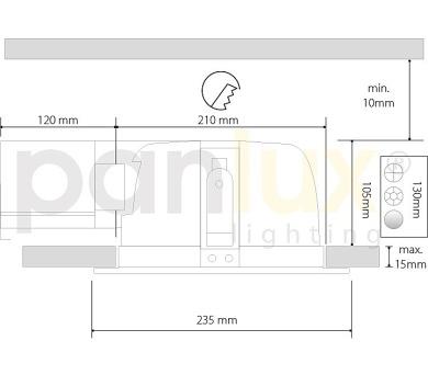 Panlux VERSA výklopné zářivkové nábytkové svítidlo s vypínačem pod kuchyňskou linku + DOPRAVA ZDARMA