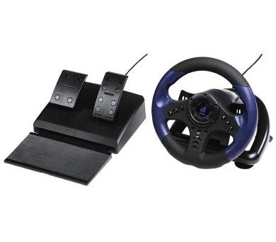 HAMA uRage závodní volant GripZ pro PC/ USB/ plynový a brzdový pedál/ 12 tlačítek/ černo-modrý