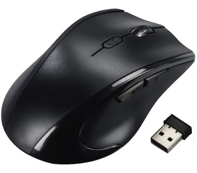 HAMA myš Riano/ bezdrátová/ optická/ 1600 dpi/ 5 tlačítek/ USB/ PRO LEVÁKY/ černá