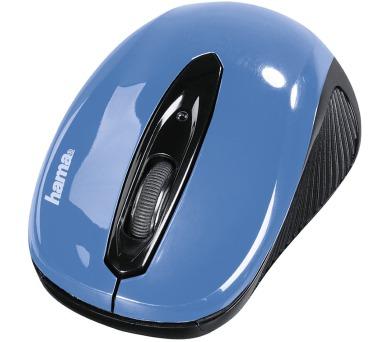 HAMA myš AM-7300/ bezdrátová/ optická/ 1000 dpi/ 3 tlačítka/ USB/ modrá (86566)