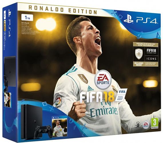 Sony PS4 1TB slim + FIFA 18 Ronaldo Ed