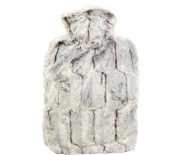 Termofor Hugo Frosch Classic s obalem z umělé kožešiny – hnědo/stříbrný s podšívkou