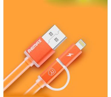 Datový kabel AURORA ,Micro USB / lighting,oranžová