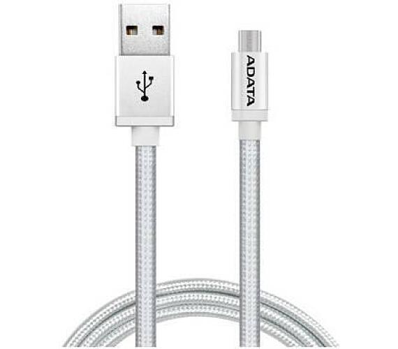 ADATA Micro USB kabel pletený 1m stříbrný (AMUCAL-100CMK-CSV)