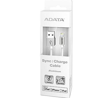ADATA Lightning kabel MFi kovově stříbrný (AMFIAL-100CMK-CSV)