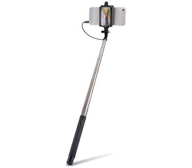 FOREVER MP-410 selfie tyčka s ovládacím tlačítkem a zrcátkem - černá
