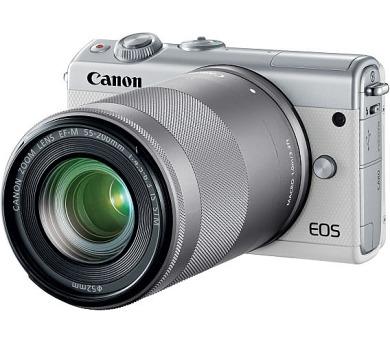 Canon EOS M100 White + EF-M 15-45mm f/3.5-6.3 IS STM + EF-M 55-200mm f/4.5-6.3 IS STM + čistíčí hadřík (2210C022)