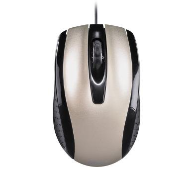 HAMA myš AM-5400/ drátová/ optická/ 800 dpi/ 3 tlačítka/ USB/ metalická champagne