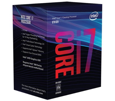 INTEL Core i7-8700 / Coffee Lake / LGA1151 / max. 4,6 GHz / 6C/12T / 12MB / 65W TDP / BOX (BX80684I78700)