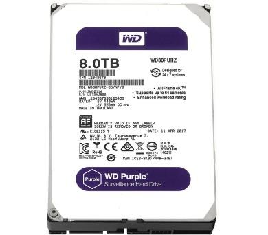 """WD HDD PURPLE 8TB / WD80PURZ / SATAIII / Interní 3,5"""" / 5400RPM / 128MB"""