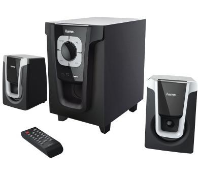 HAMA reproduktory Sound systém PR-2120/ 2.1/ 20W/ čtečka microSD karet/ BlueTooth 4.0/ CINCH/ USB/ černo-stříbrné