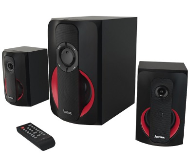 HAMA reproduktory Sound systém PR-2180/ 2.1/ 80W/ čtečka SD karet/ BlueTooth 4.0/ CINCH/ USB/ černo-červené