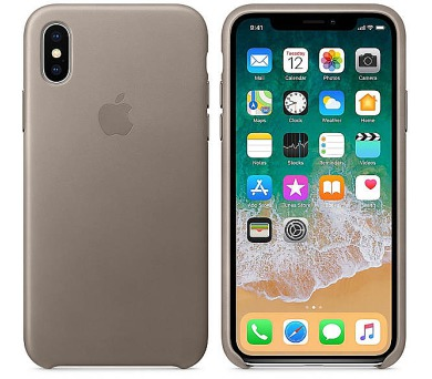 Apple Leather Case pro iPhone X - kouřový