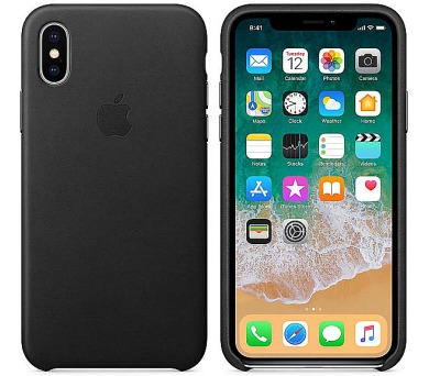 Apple Leather Case pro iPhone X - černý + DOPRAVA ZDARMA