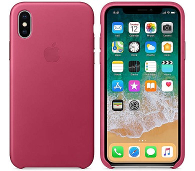Apple Leather Case pro iPhone X - fuchsiový