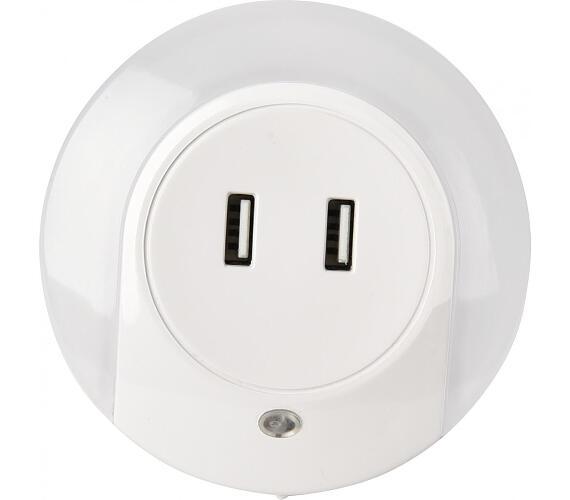 IMMAX LED noční orientační světlo s USB nabíječkou 2x 5V/1A/ svítivost 15lm/ noční světlo se soumrakovým čidlem (08942L)