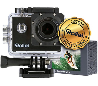 Rollei ActionCam 510/ 12Mpx/ 2.7K/20fps/ 1080p/30 fps/ 140°/ 40m pzd./ Wi-Fi/ Černá