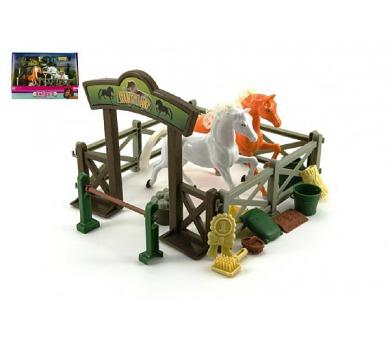 Stáj pro koně + 2ks kůň s doplňky plast v krabici 36x25,5x10cm