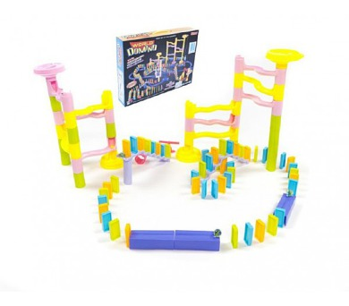 Kuličková dráha s dominem plast 285ks v krabici 45x35x8cm + DOPRAVA ZDARMA