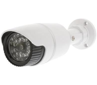 KÖNIG atrapa bezpečnostní kamery s infračervenou LED/ válcová/ IP44/ venkovní/ bílá (SAS-DUMMY120W)