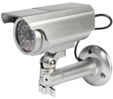 KÖNIG atrapa bezpečnostní kamery s blikající LED/ válcová/ IP44/ venkovní/ stříbrná (SAS-DUMMY111S)