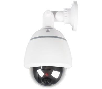 KÖNIG atrapa bezpečnostní kamery s blikající LED/ kopulová/ IP44/ venkovní/ bílá (SAS-DUMMY210W)