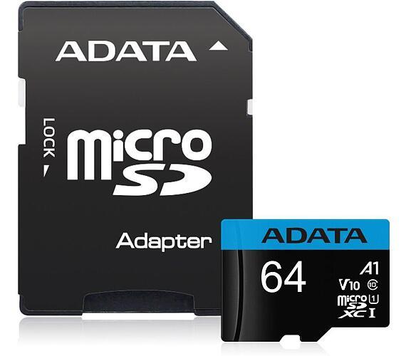 ADATA Premier 64GB microSDXC / UHS-I CLASS10 A1 / 85/25 MB/s / + adaptér (AUSDX64GUICL10A1-RA1)