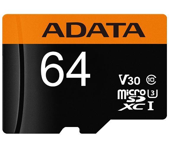 ADATA Premier Pro 64GB microSDXC / UHS-I I3 V30 CLASS10 / bez adaptéru (AUSDX64GUI3V30G-R)