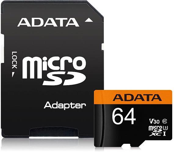 ADATA Premier Pro 64GB microSDXC / UHS-I I3 V30 CLASS10 / + adaptér (AUSDX64GUI3V30G-RA1)