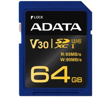 ADATA Premier Pro 64GB SDXC/ UHS-I U3 V30G CL10 (ASDX64GUI3V30G-R)