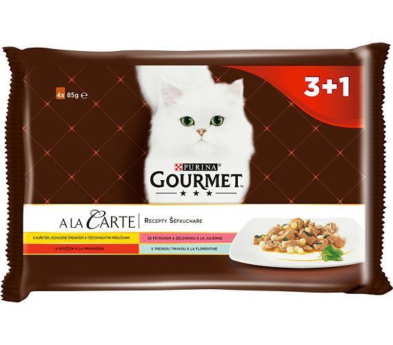 Gourmet A la Carte cat kaps.- Multipack kuře,hov. 4 x 85 g (3+1zdarma)
