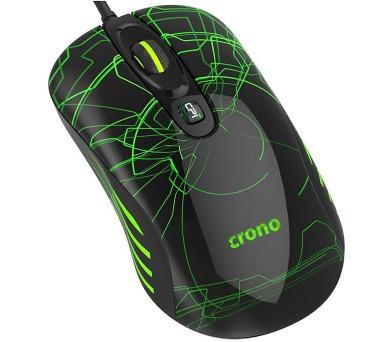 CRONO myš OP-636G/ gaming/ drátová/ laser/ 3200 dpi/ LED podsvícení/ USB/ černo-zelená (CM636G)