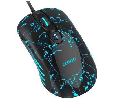 CRONO myš OP-636B/ gaming/ drátová/ laser/ 3200 dpi/ LED podsvícení/ USB/ černo-modrá