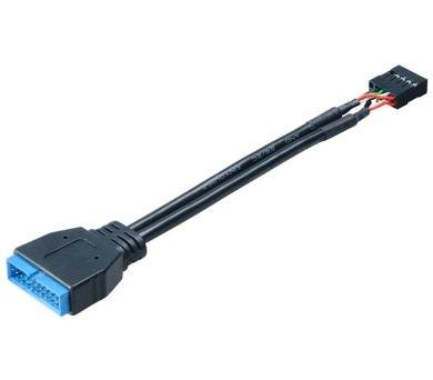 AKASA interní redukce USB 2.0 9pin (F) na USB 3.0 19pin (M) / AK-CBUB19-10BK / 10 cm