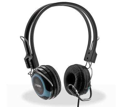 CRONO headset HM-53B/ drátová sluchátka + mikrofon/ 2x jack 3,5 mm/ 100 dB/ černá