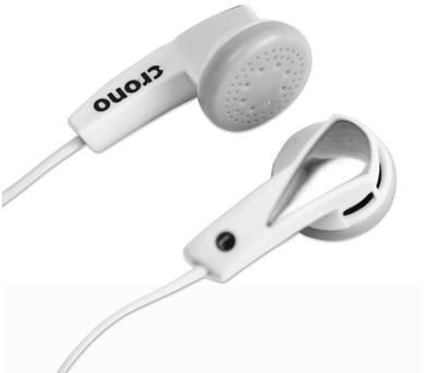 CRONO sluchátka E-11W/ drátová/ špuntová/ jack 3,5 mm/ 102 dB/ bílá