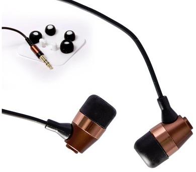 CRONO sluchátka E-12B/ drátová/ špuntová/ jack 3,5 mm/ 102 dB/ černá-bronz