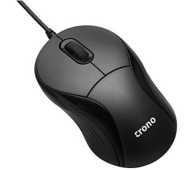 CRONO myš OP-635/ drátová/ 1000 dpi/ cestovní-mini/ navíjecí USB/ černá