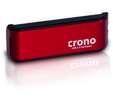 CRONO čtečka paměťových karet/ externí/ červená