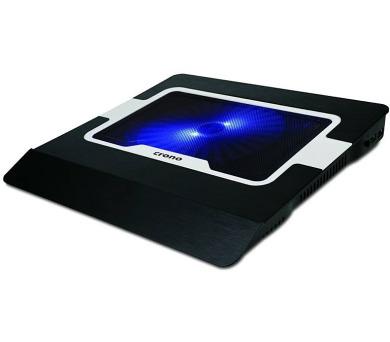 """CRONO CB156/ aktivní chladící podložka pro notebook do 15,6""""/ USB/ modré LED podsvícení/ čer"""