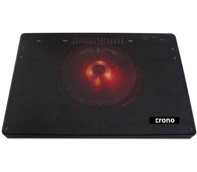 """CRONO CB157/ aktivní chladící podložka pro notebook do 15,6""""/ 2x USB/ červené LED podsvícení/ černá (CB00157)"""