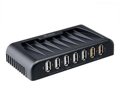 AKASA USB hub Connect 7 FC/ 5x USB 2.0/ 2x nabíjecí USB port/ napájecí adaptér/ černý