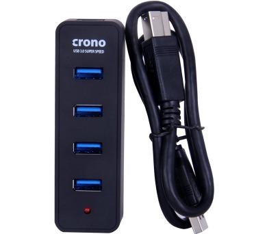 CRONO USB HUB/ 4 porty/ USB 3.0/ kabel 30cm/ černý (U1322)