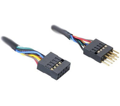AKASA kabel interní USB prodlužka/ USB 2.0/ 2x 4pin USB MALE - 2x4pin USB FEMALE/ 40cm