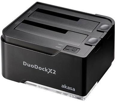 "AKASA externí box DuoDock X2 / AK-DK06U3-BKCM / pro 2x 2,5""/3,5"" SATA / USB 3.0 / disk duplicator / černý + DOPRAVA ZDARMA"
