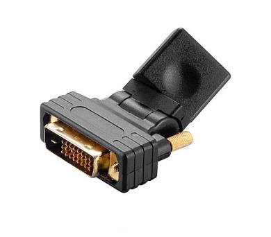 AKASA redukce DVI-D(M) na HDMI(F) / AK-CBHD16-BK / úhlová o 360°
