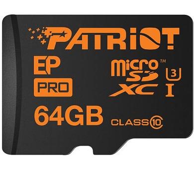 PATRIOT EP Pro 64GB Micro SDXC Card / Class 10 + adaptér