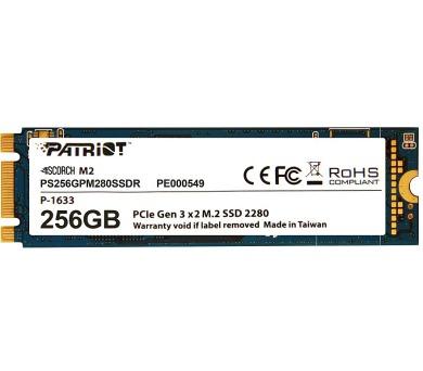 PATRIOT SCORCH 256GB SSD / Interní / M.2 PCIe Gen 3 x 2 NVMe 1.2 / 2280 (PS256GPM280SSDR)